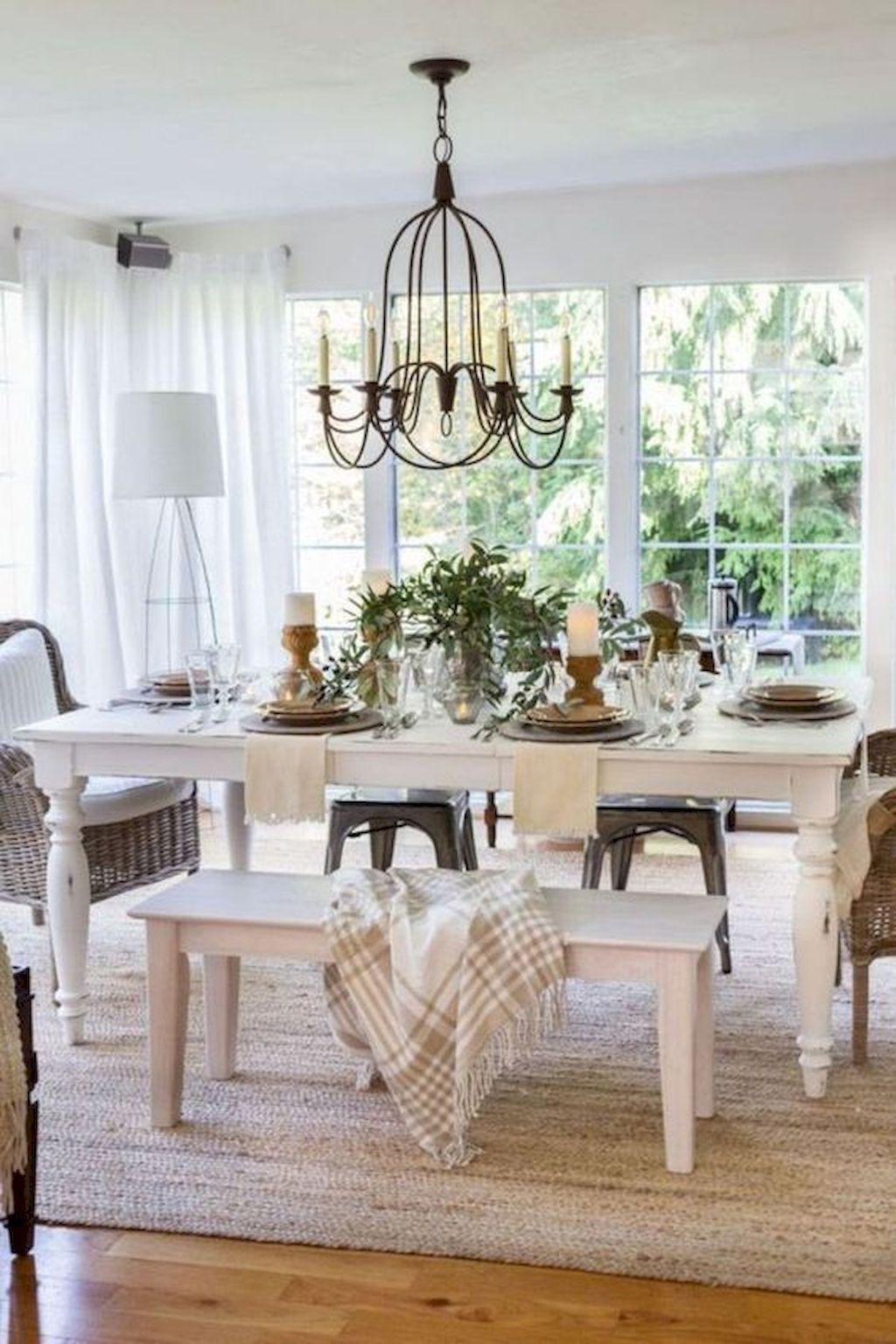 50 Farmhouse Dining Room Table Decor Ideas #farmhousediningroom