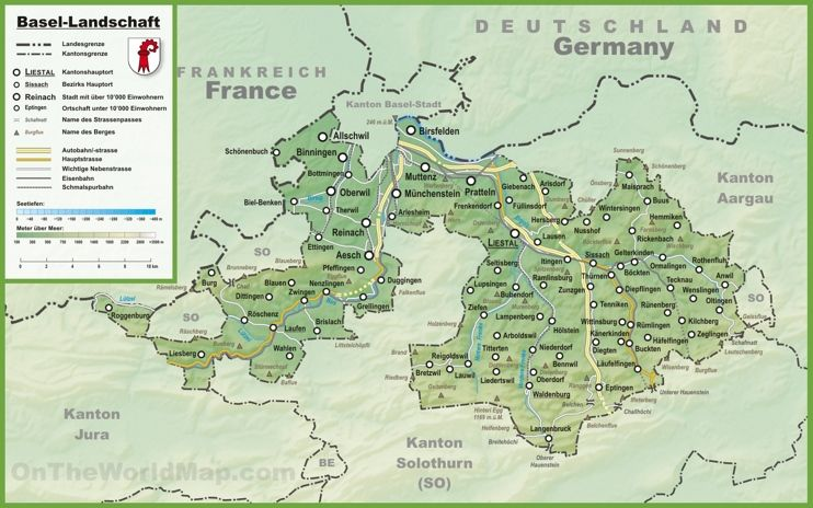 Canton of Jura map with cities and towns loving switzerland