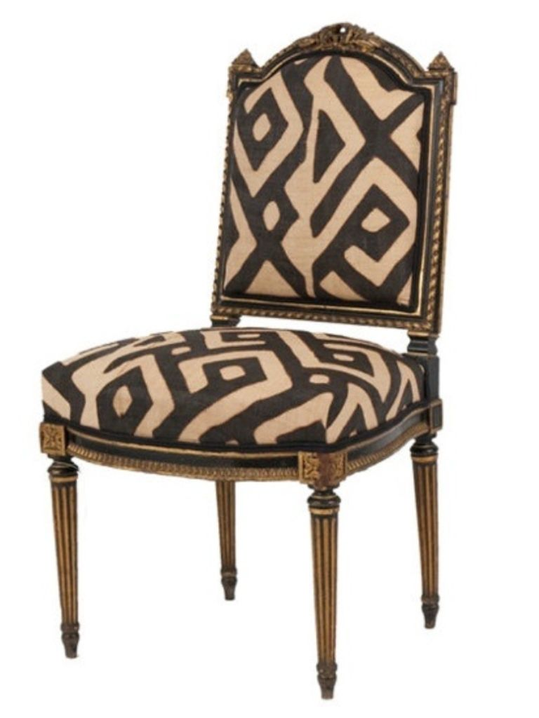 French Chair upholstered in Kuba Cloth aka Raffia (the fabric pieces are handmade in Africa and no two are exactly alike).  sc 1 st  Pinterest & French Chair upholstered in Kuba Cloth aka Raffia (the fabric ...