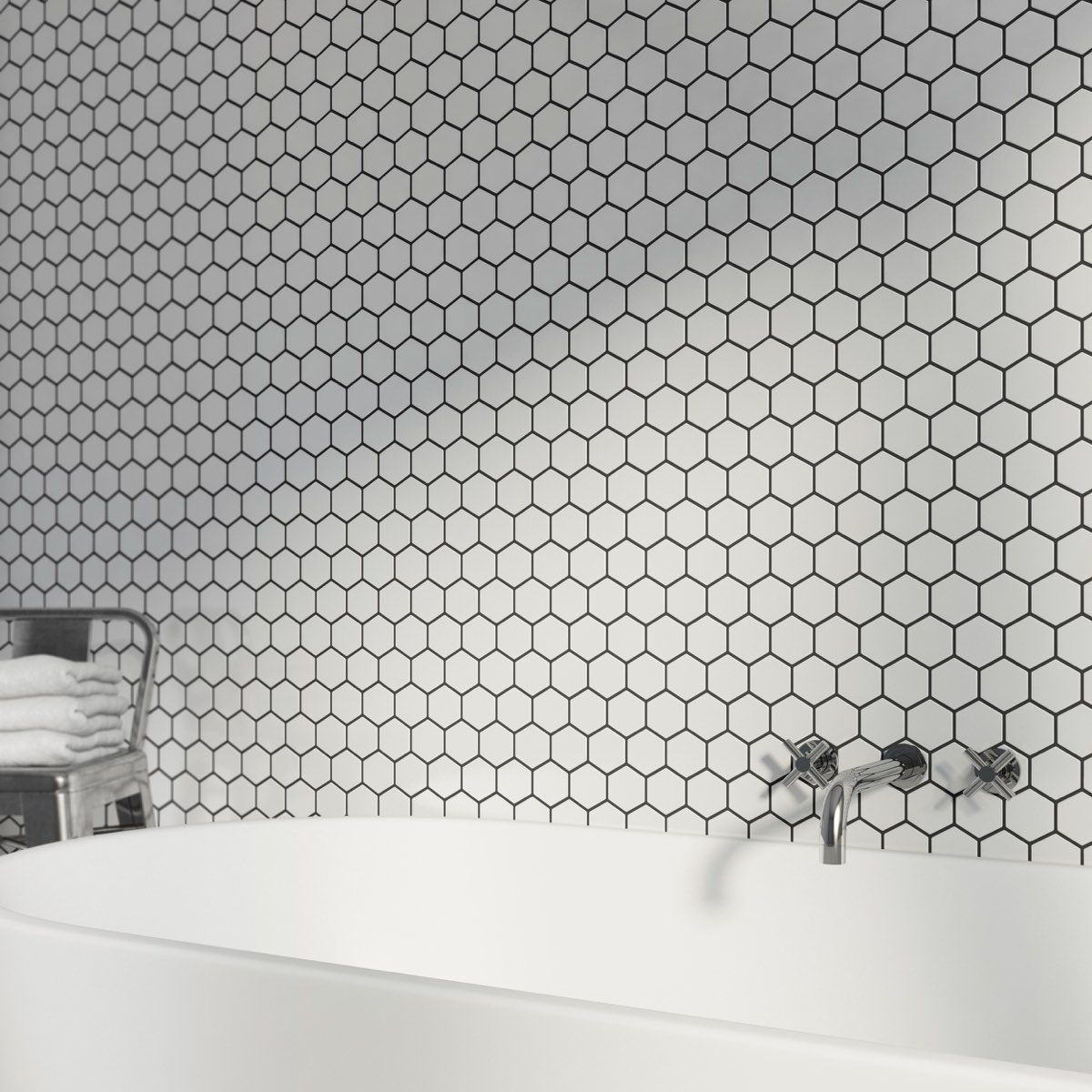 Mosaic hex white tile 300mm x 300mm - 1 sheet | Kitchen and dinning ...