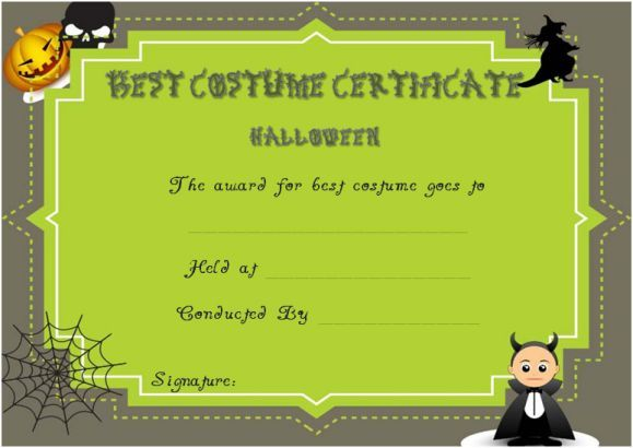 Certificate Of Appreciation For Halloween Costume Halloween