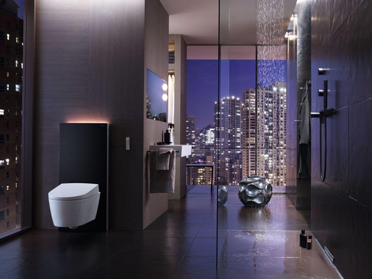 Hightech im Badezimmer mit Geberit Wandablauf für Duschen