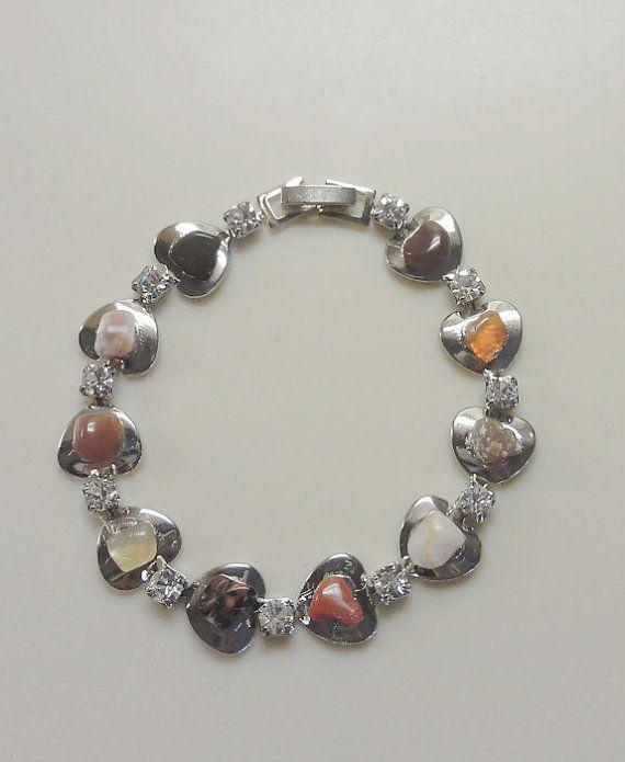 Mixed Agate Heart  & Crystal Tennis Bracelet by ArtsyTreasures, $15.00