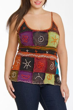 Rising Topaz Top in Multicolored Patch