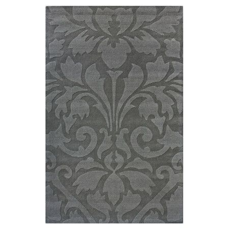 Wool Rug With An Oversized Damask Motif Hand Tufted In India Product