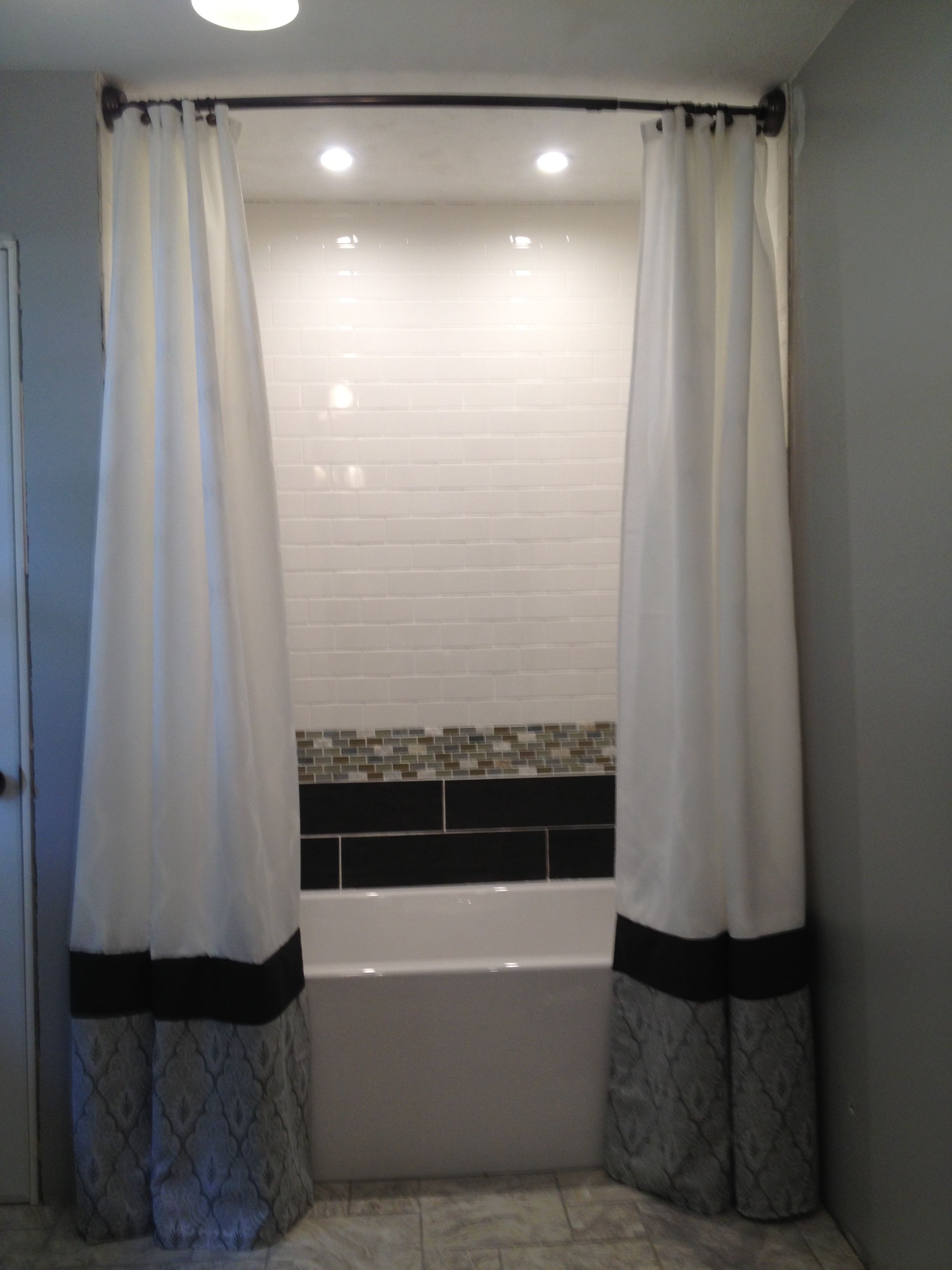 Floor to ceiling shower curtains | Completed Pinspirations!