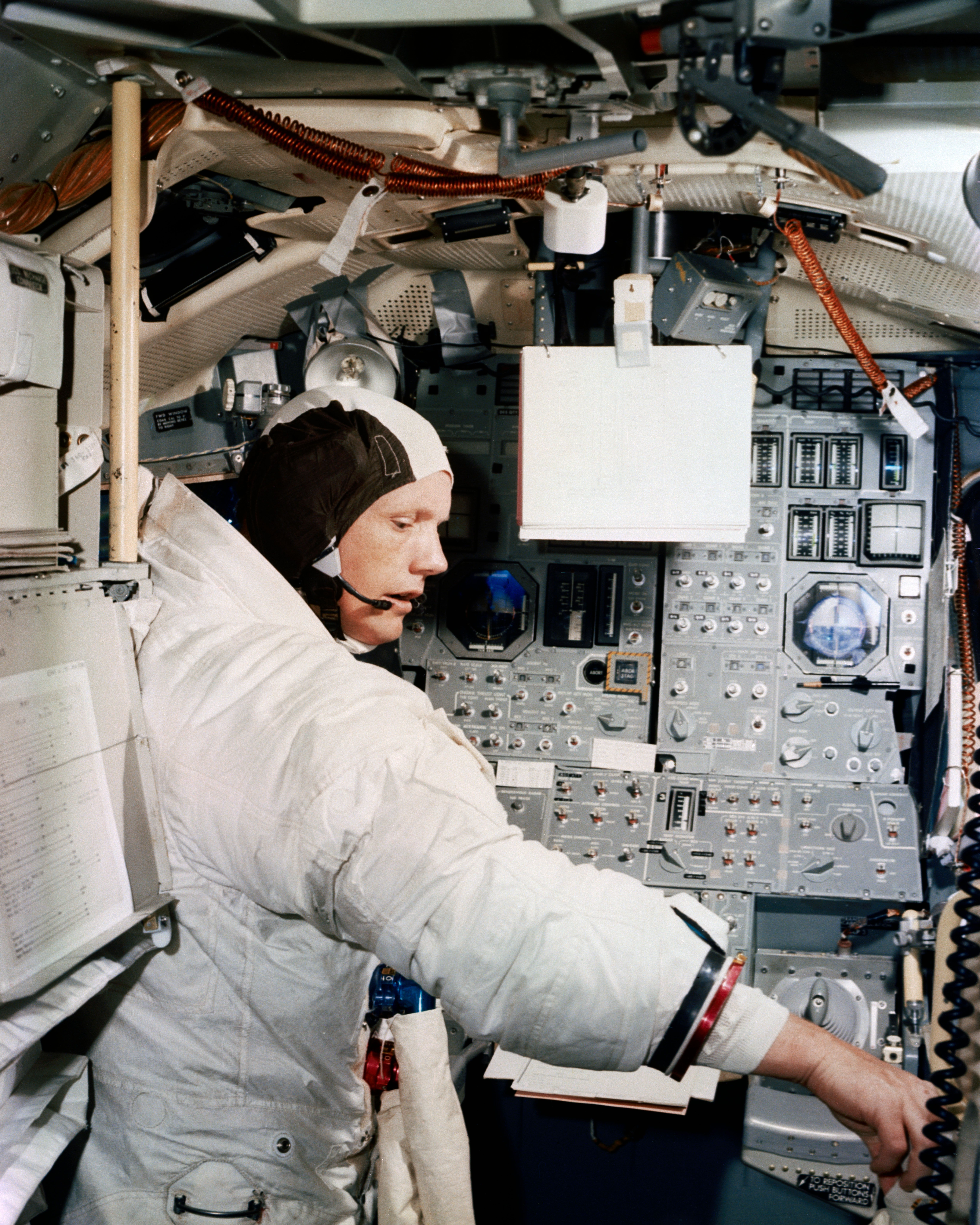 Neil a armstrong in simulation training inside the apollo lunar module mission simulator