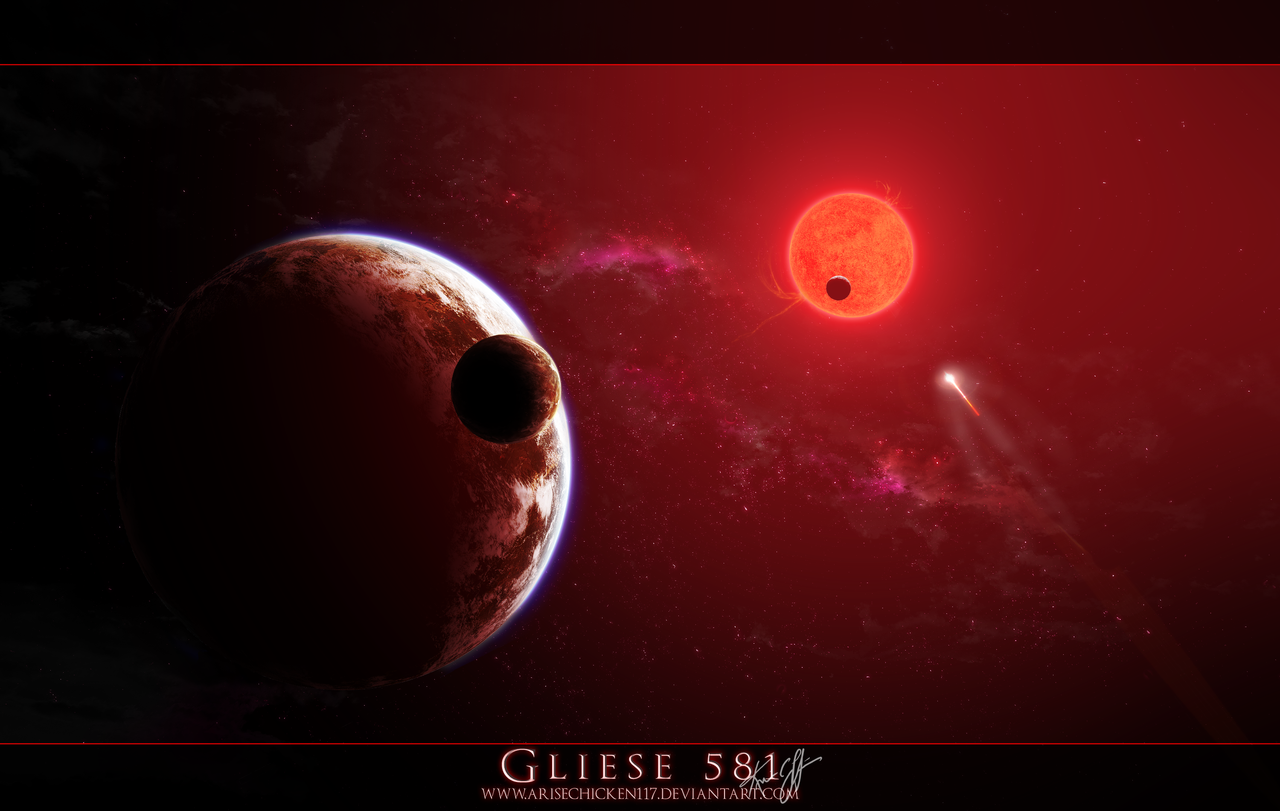 Gliese 581 By Arisechicken117 This Was Inspired Recently About An Article Of Gliese 581 An Actual Star In Our Night Sky Planets Space Tourism Red Dwarf