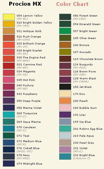 procion_color_chart -From Blog A Zonzon Dyeing Pinterest - ral color chart