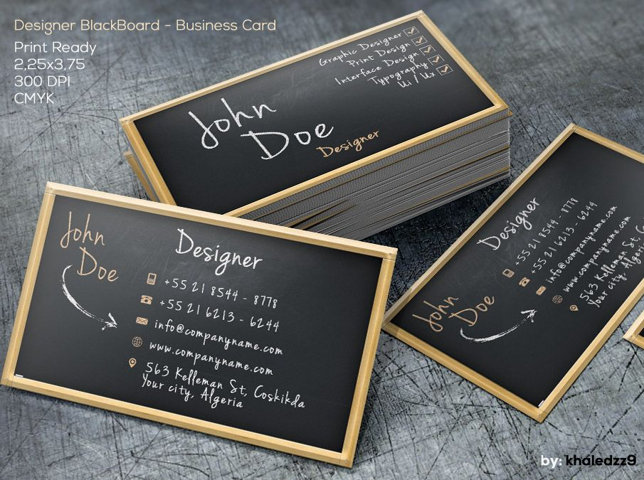 Designer Blackboard Business Card By Khaledzz9 Deviantart Com Business Cards Mockup Psd Free Business Card Mockup Business Card Psd