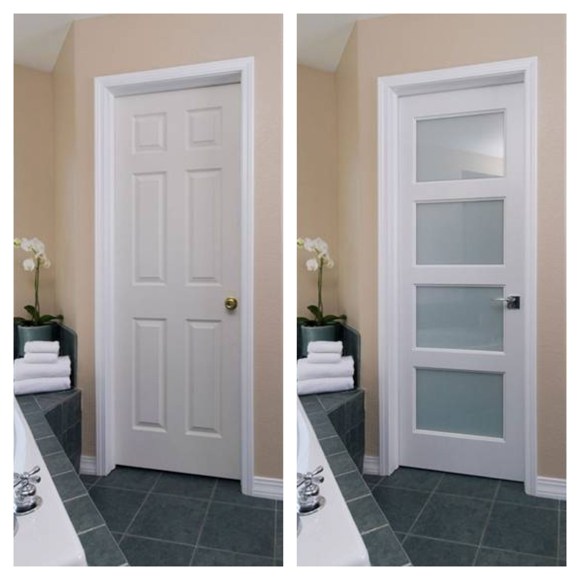 Before: Traditional Hollow Core Door After: Modern Solid Wood Door With  White Lami Glass