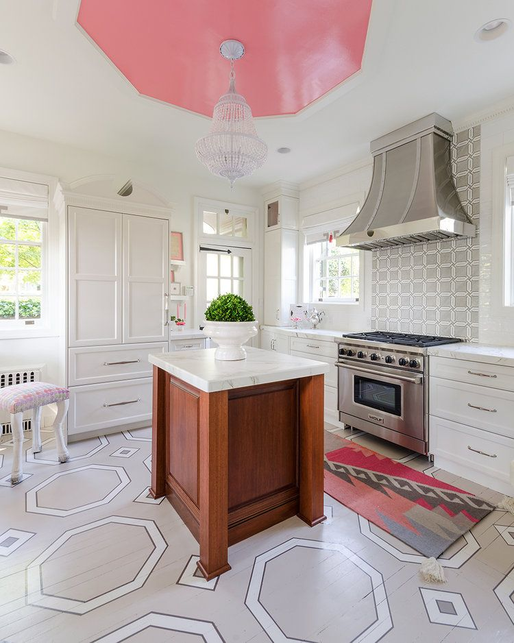 Are Painted Ceilings The Next Big Trend With Images Small Kitchen Layouts Stylish Small Kitchen Kitchen Layout