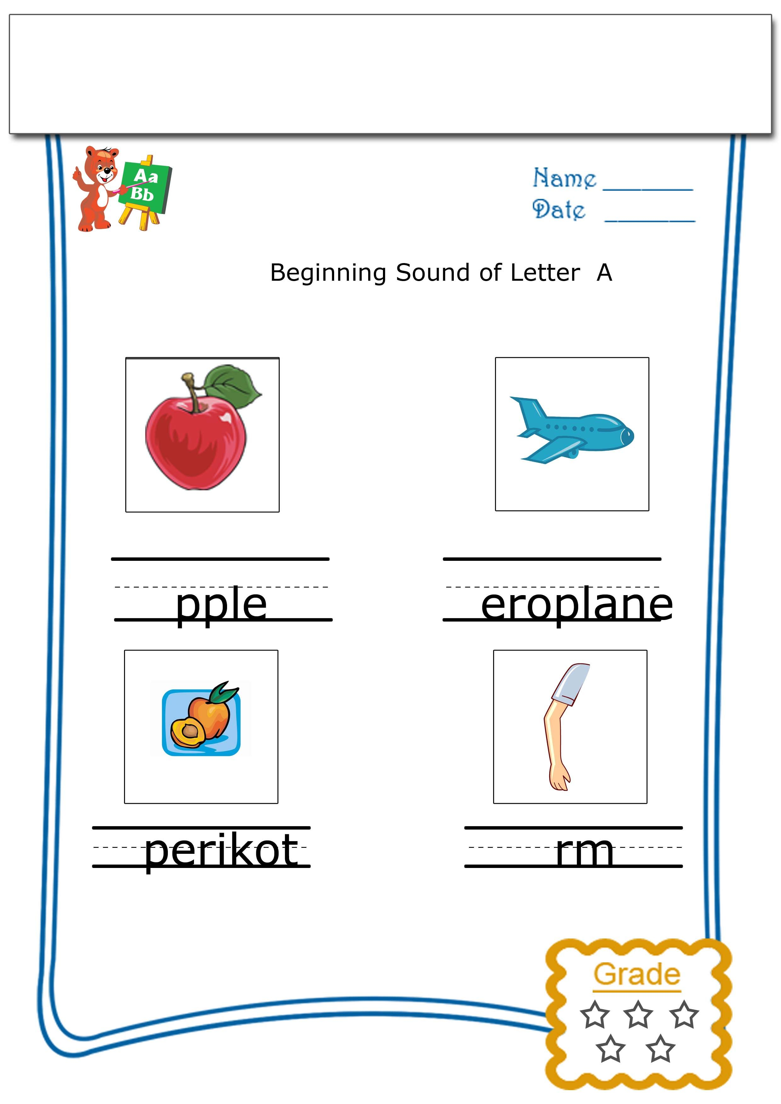 Worksheets For Kids Beginning Sound Of A With Images