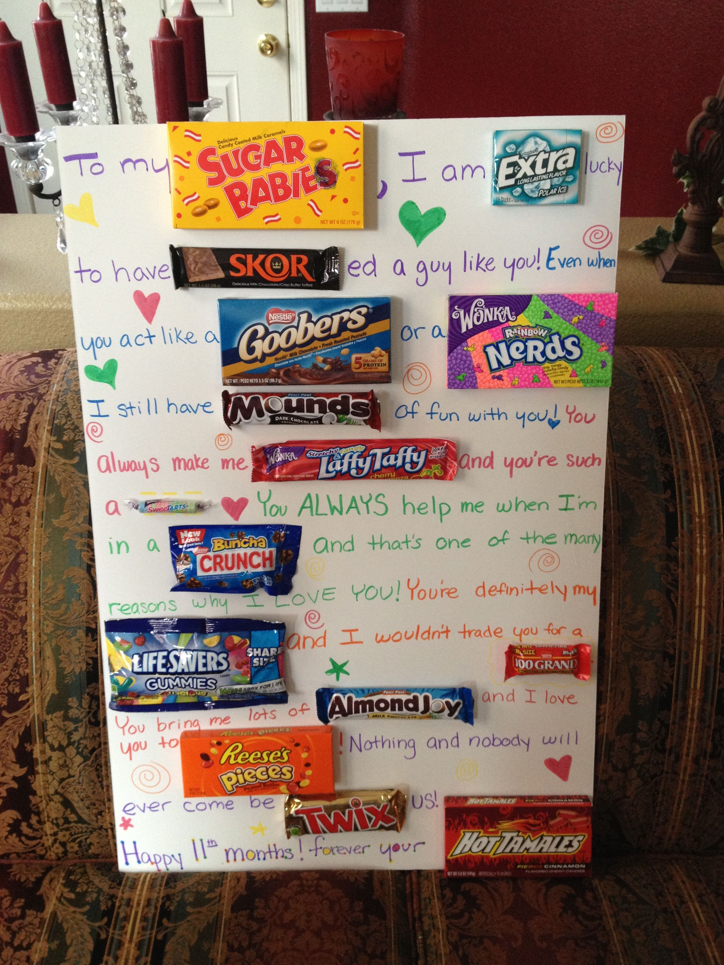first wedding anniversary gift ideas for husband pinterest%0A That u    s so creative but you have to buy all that candy