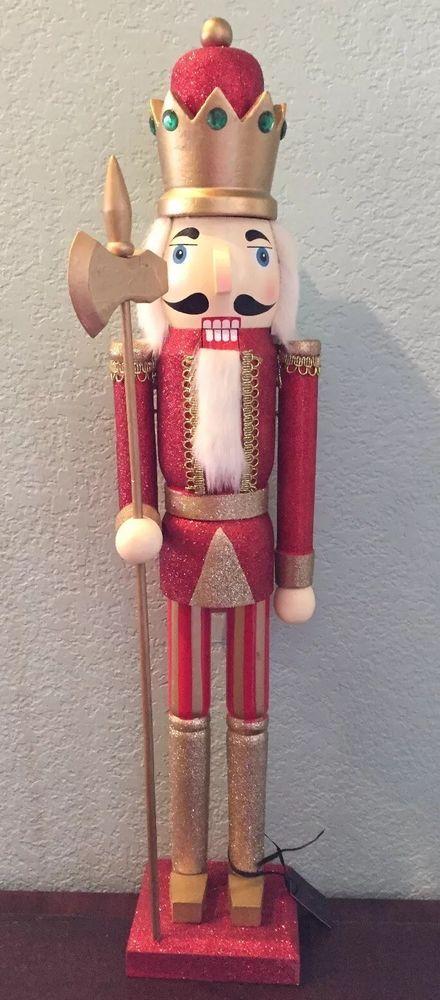 """New BOMBAY Company 24"""" TALL Wooden NUTCRACKER Red King # ..."""