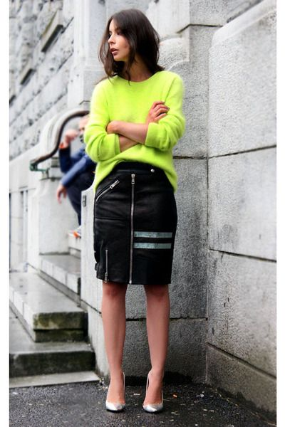 9dc6217ec58 Skirt Outfit  Neon Green  6. Pair a black zip-front pencil skirt with a  loose neon sweater and silver pumps.