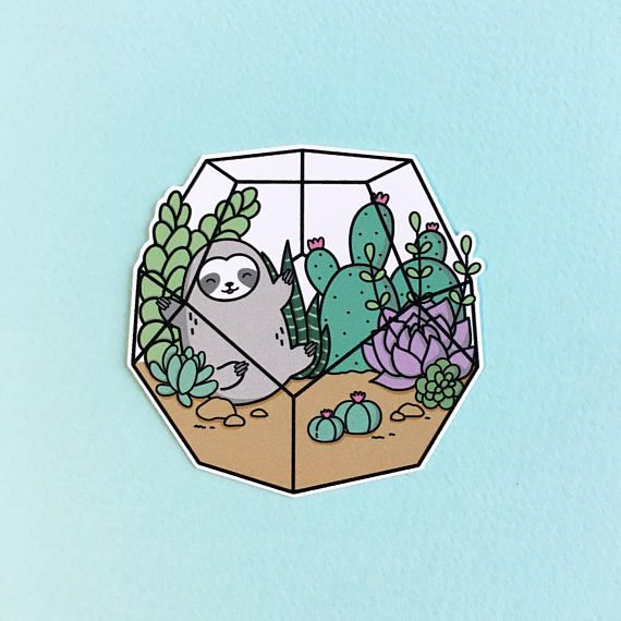 Terrarium sloth sticker this cute sticker is perfect to decorate your laptop phone