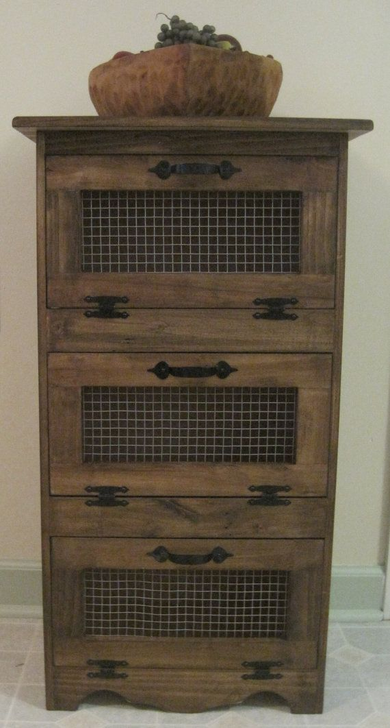 Rustic Vegetable Bin Storage Cupboard Primitive Shelf Onion Potatoes