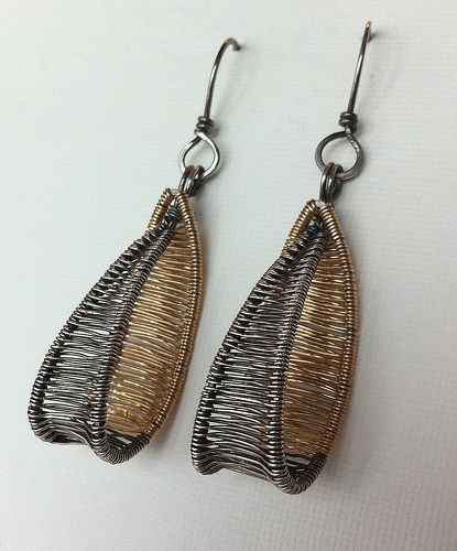 I just had to make a pair with silver and gold-filled wire as well. These are slightly smaller than the copper-brass earrings.