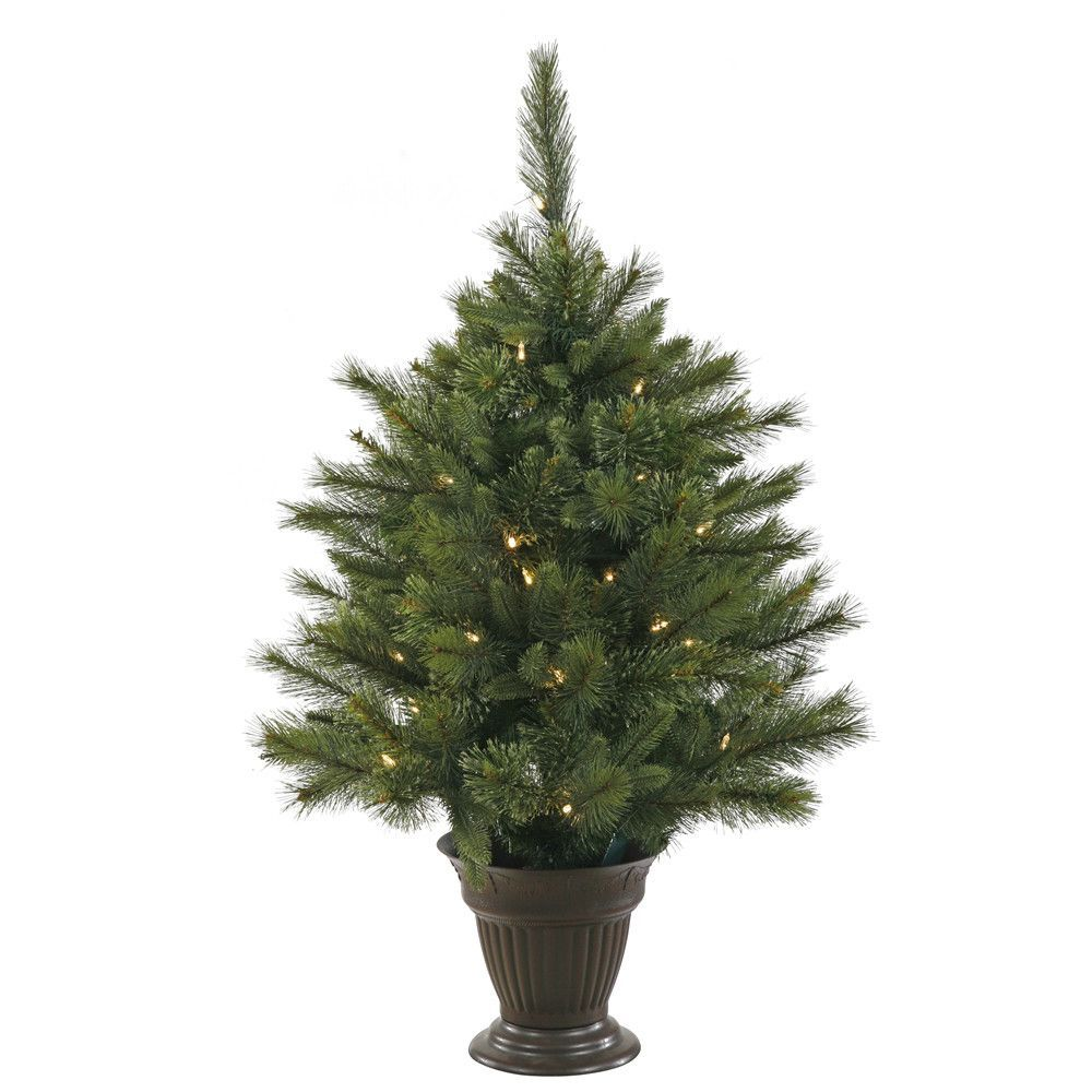 Cashmere 3.5' Green Pine Artificial Christmas Tree with 50 LED White Lights