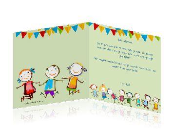 Voorkeur Kaart uitnodiging kinderfeestje maken met slinger en poppetjes #XV73