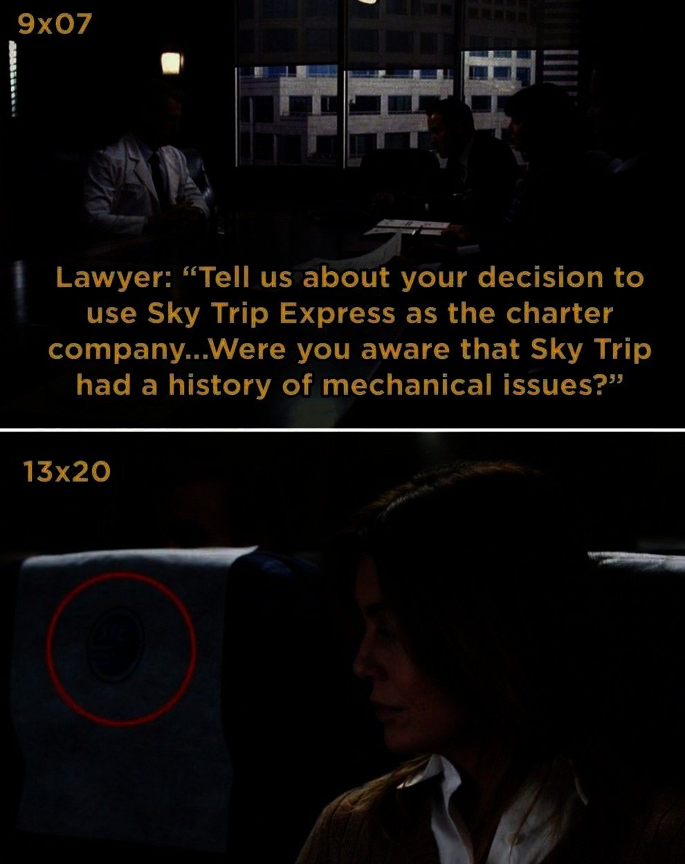 Probably Didnt Notice The First Time In Season 12 Meredith takes a flight using Sky Trip Express  this is the same company that owne21 Details From Greys Anatomy You Prob...