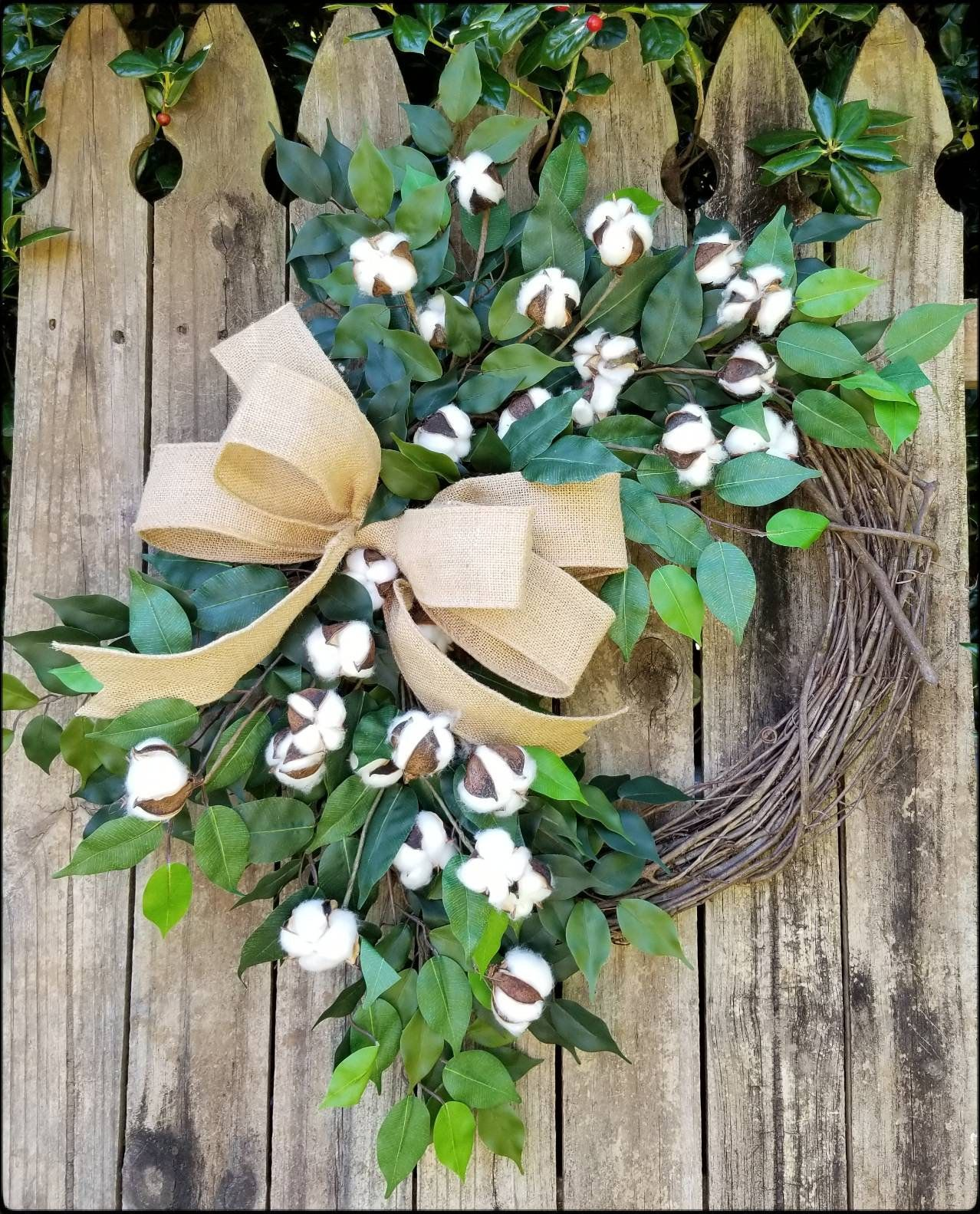 Cotton farmhouse style grapevine wreath rustic year round
