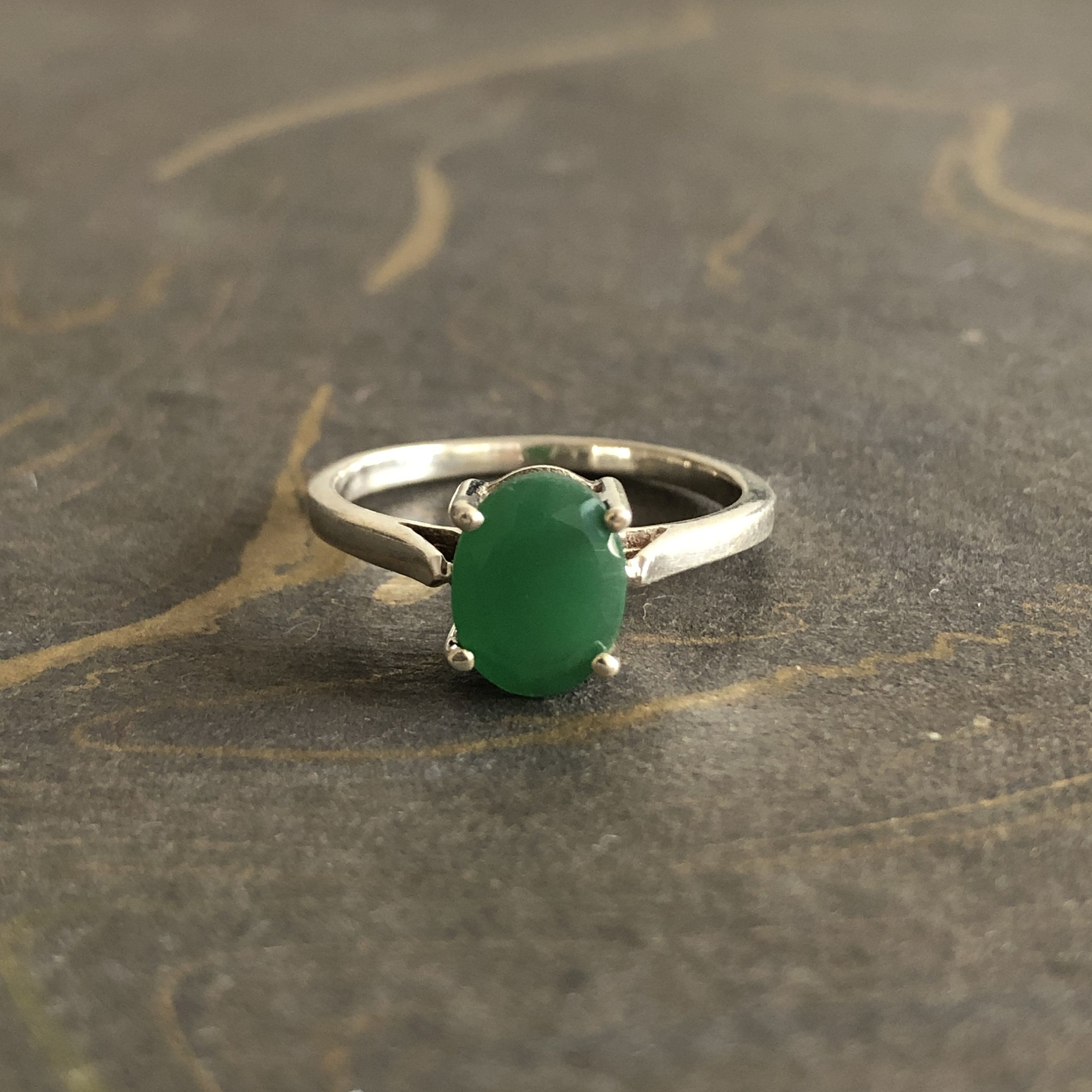 Handmade Silver Ring With Emerald Stone