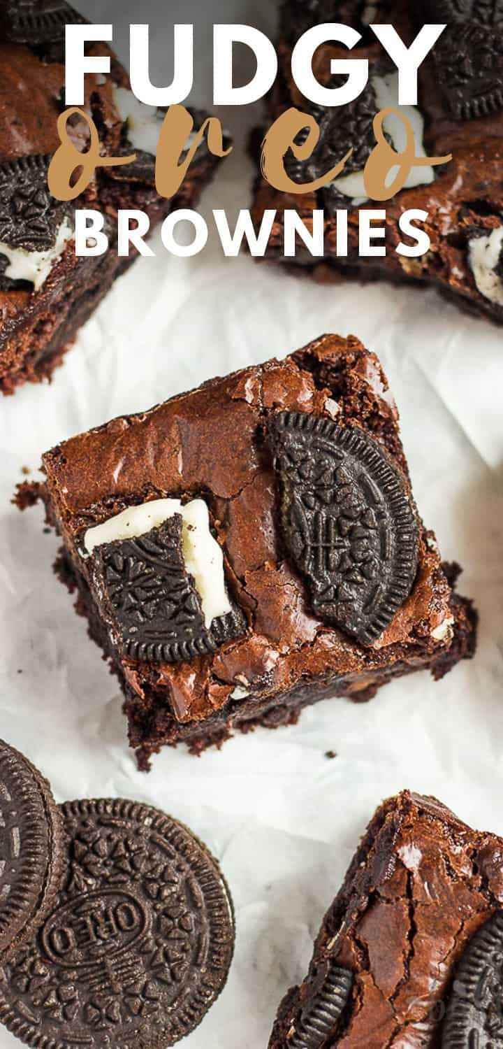 Fudgy Oreo Brownies- Deliciously thick and fudgy brownies that are chocolatey ...   - Oreo -