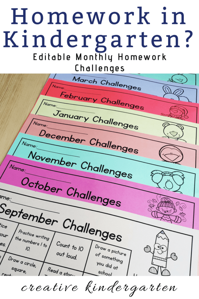 Easy Prep Homework For Kindergarten - Creative Kindergarten