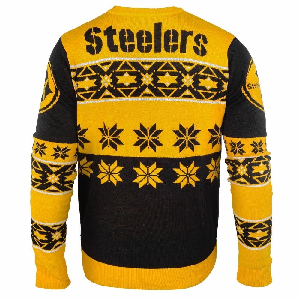 size 40 d822f d18f0 Details about Pittsburgh Steelers Big Logo NFL Ugly Sweater ...