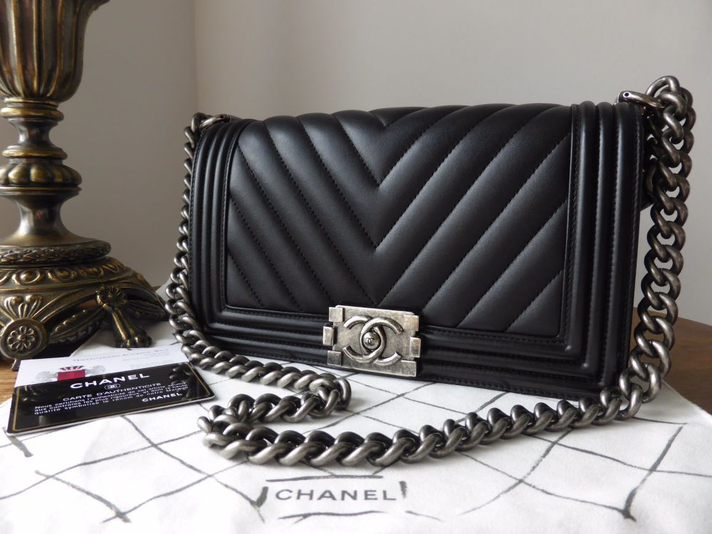 533f0eacbe71 Chanel Old Medium Boy Chevron in Black Calfskin with Ruthenium Hardware  > https:/