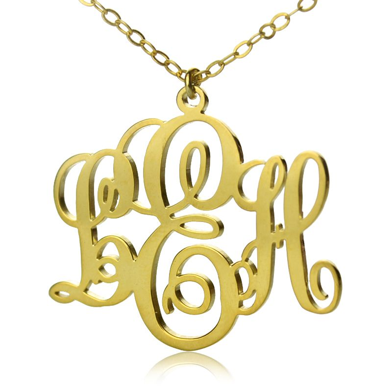 Perfect fancy monogram necklace gift 18k gold plated gold monogram perfect fancy monogram necklace gift 18k gold plated aloadofball Gallery