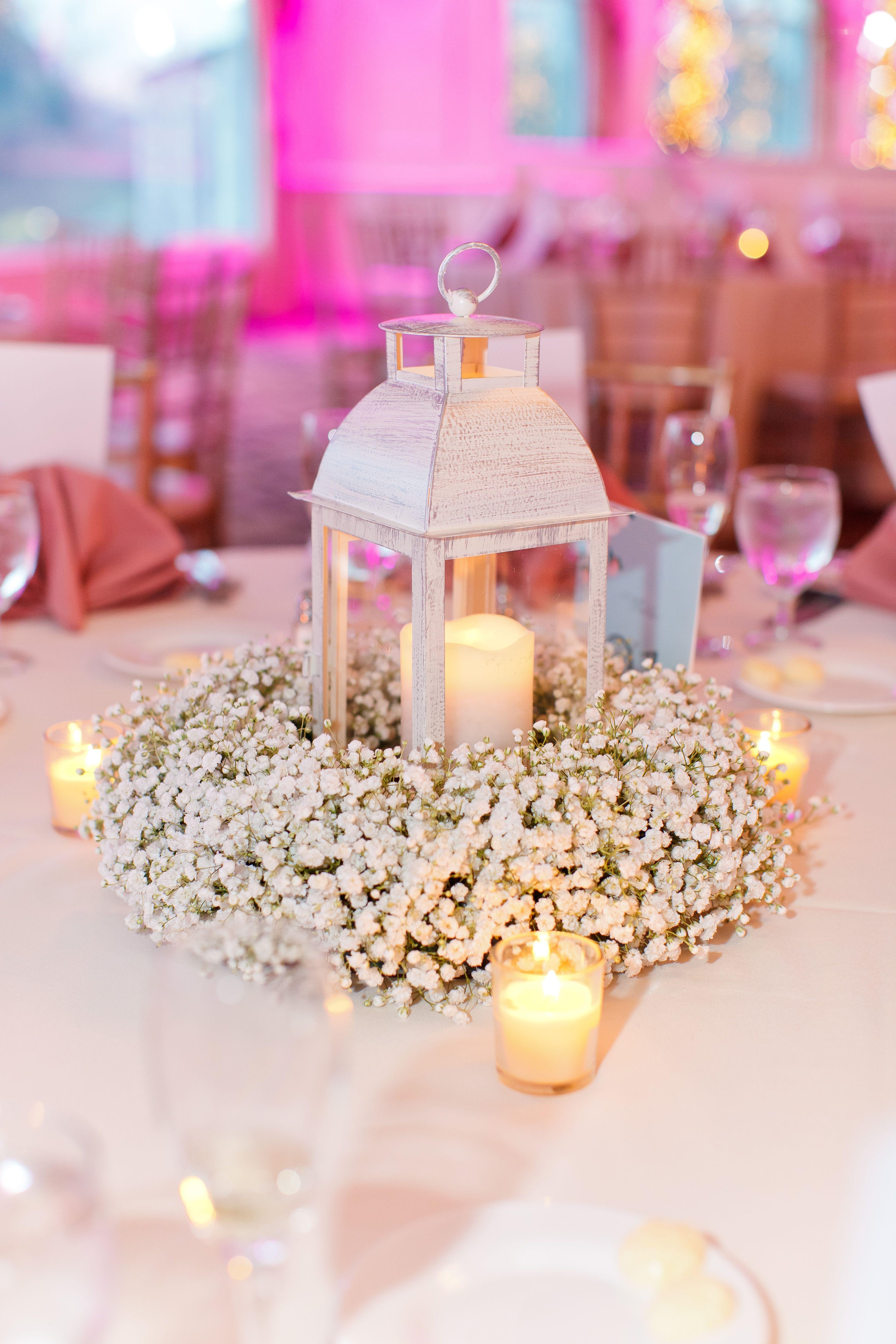 Diy flower decorations wedding  Babyus Breath Wreath Centerpiece with Lantern and Candles  wedding