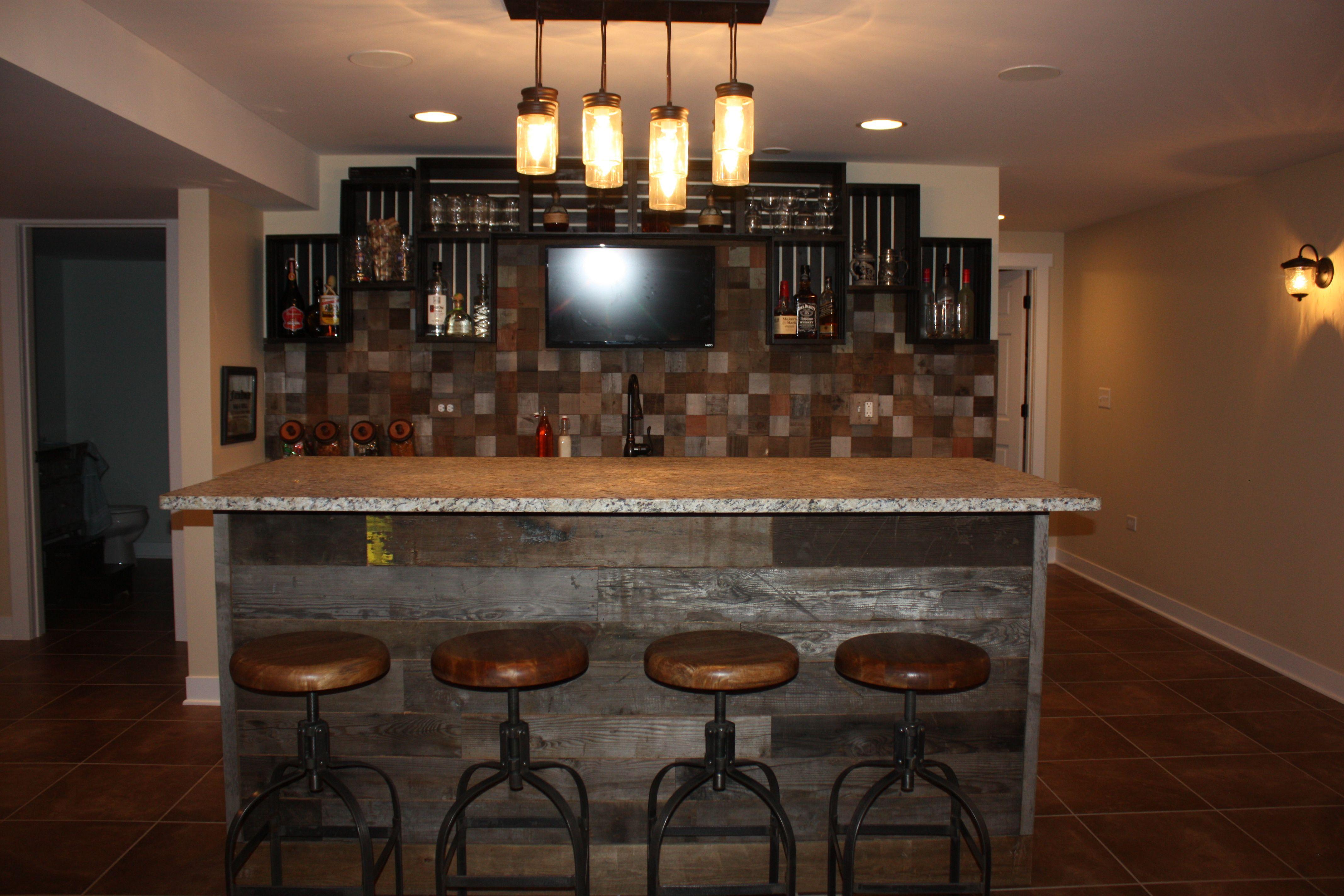 Basement Bar Reclaimed Wood Backsplash And Bar Front