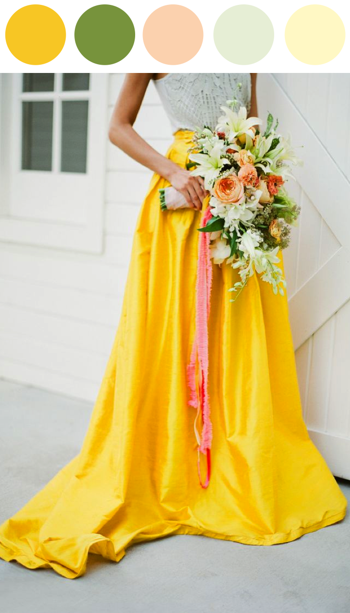 Yellow dress to wedding  Color Me Inspired Yellow and Green Wedding Look  BRIDESMAIDS