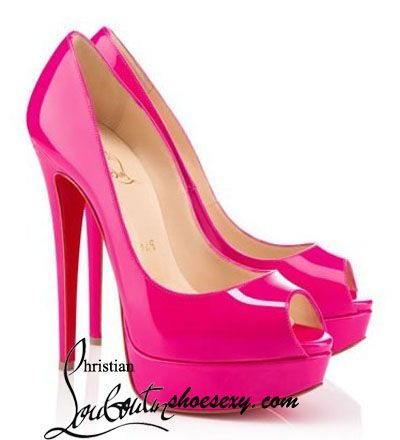 Christian Louboutin Lady Peep toe 150 Platform Patent Pumps Hot ...
