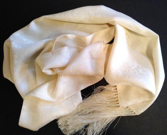 100 Silk Long Cream White Echo Scarf Vintage Paisley Jacquard Fringed Echo Scarves Cream White Scarf