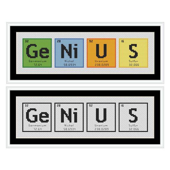 Genius Periodic Table Chemical Element Cross Stitch Chart Cross