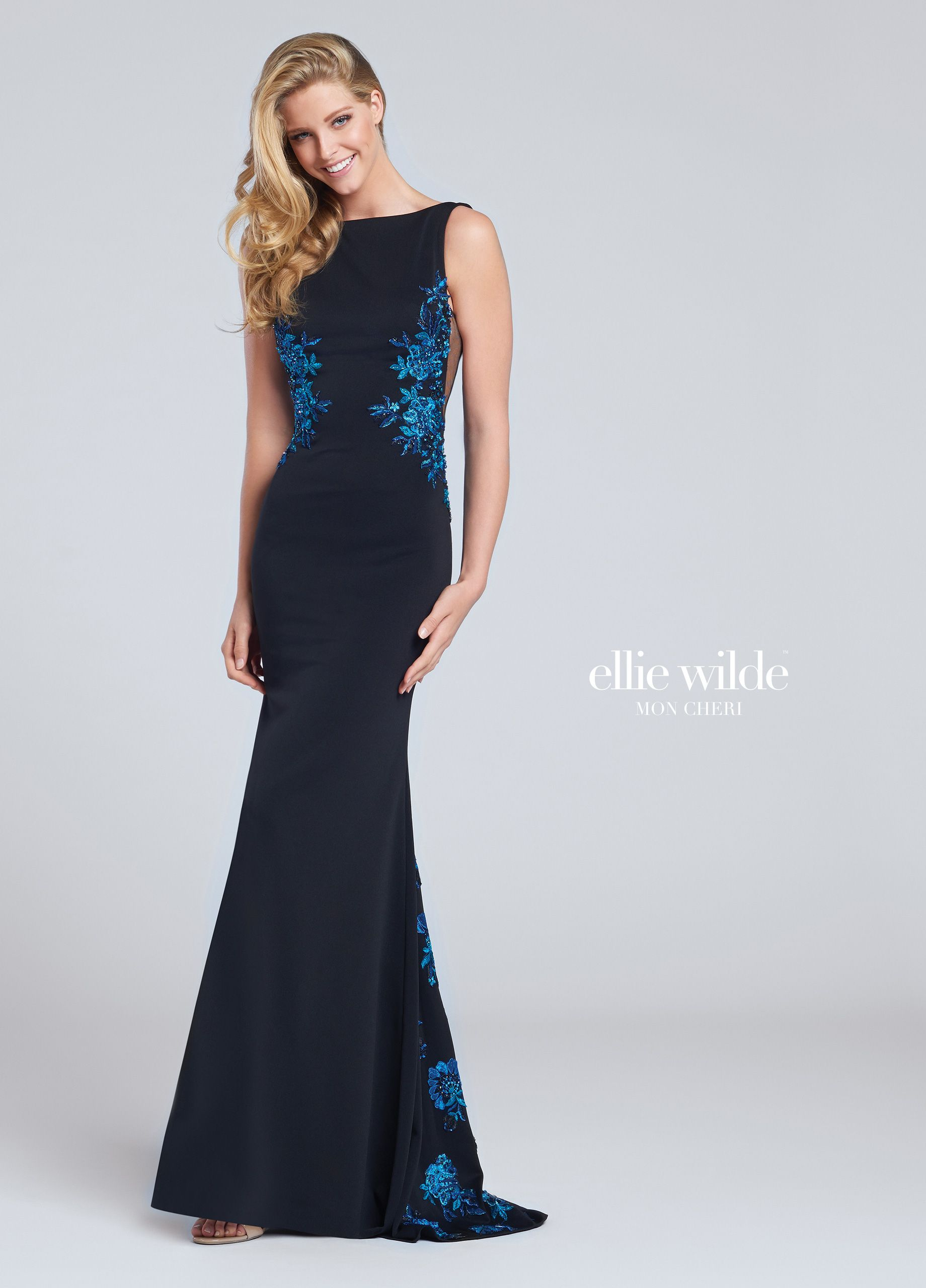 Jersey fit u flare prom dress with plunging back ew bateau