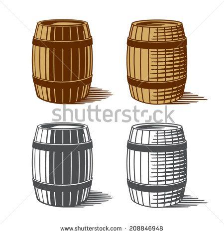 Wine Or Beer Barrels Engraving Vector Illustration Retro Risunki Dizajn Logotipov Retro