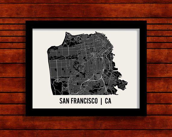 San Francisco Map Art City Print by MrCityPrinting on Etsy, $28.00