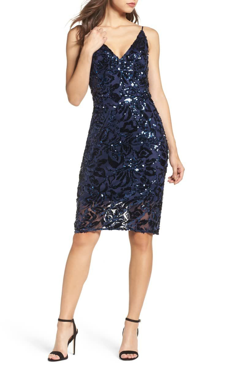 12b951871c An abstract tapestry of sequins brings rich texture and shine to a  sophisticated slipdress that s perfect