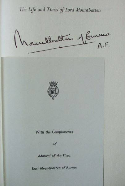 Lord Mountbatten's Signature (uncle of Prince Philip, Duke of Edinburgh, and second cousin once removed to Elizabeth II)