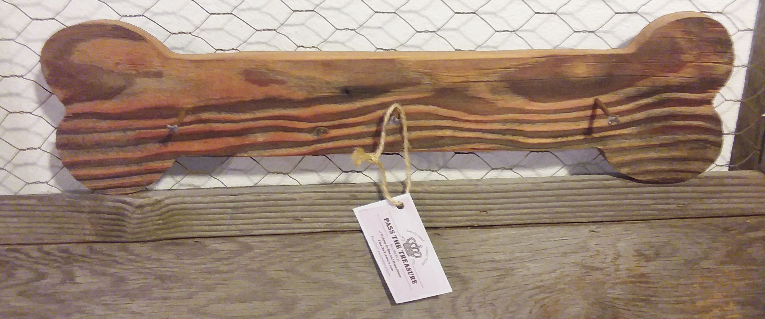 Custom Made Wood Dog Bone Hanger With Bone Shaped Nails Made From