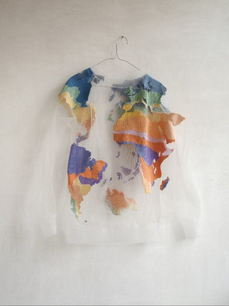 Sweater Clothes Colorful Planet See Through Bag Clear Map Tumblr Cute  Crewneck White T Shirt World Map World Shirt