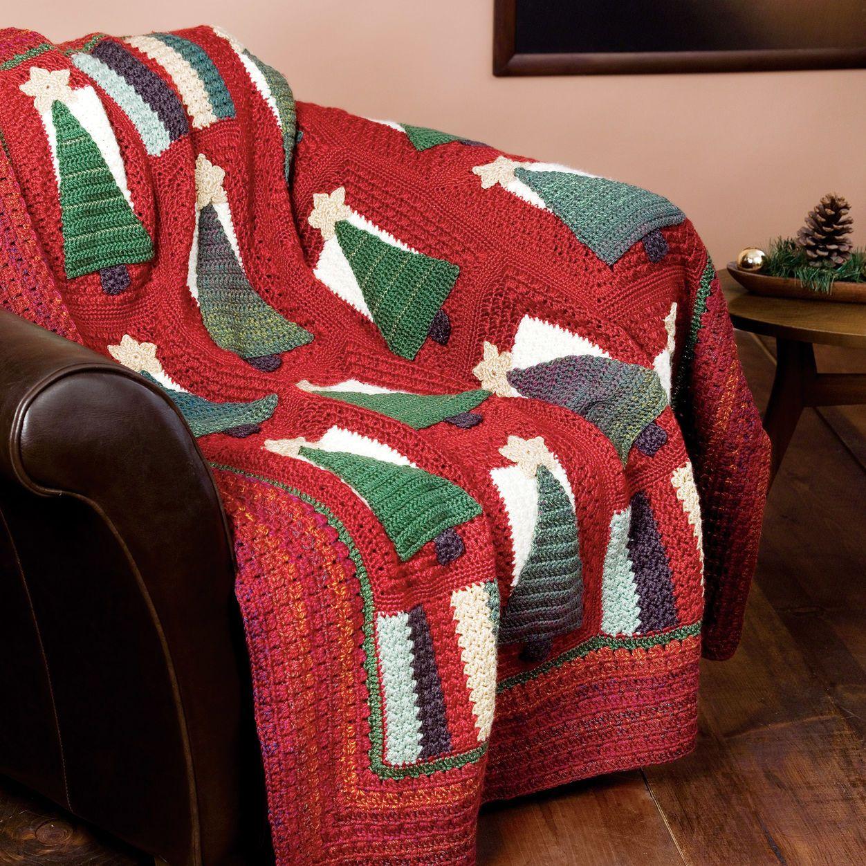 Caron Christmas Tree Throw | Yarnspirations | Christmas ...