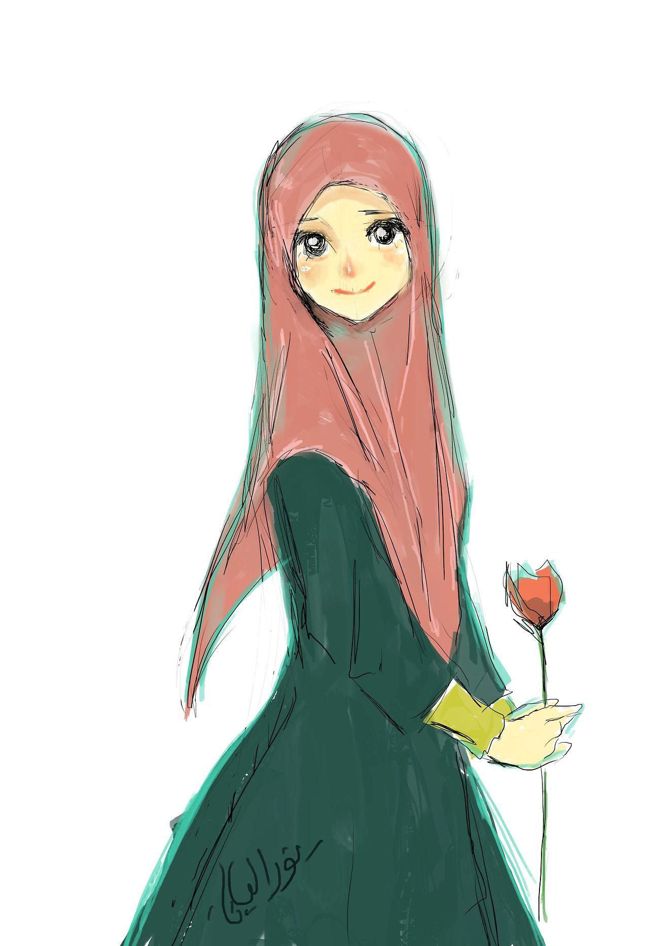 Girl with flower Hijab anime, Kawaii, Jolie dessin