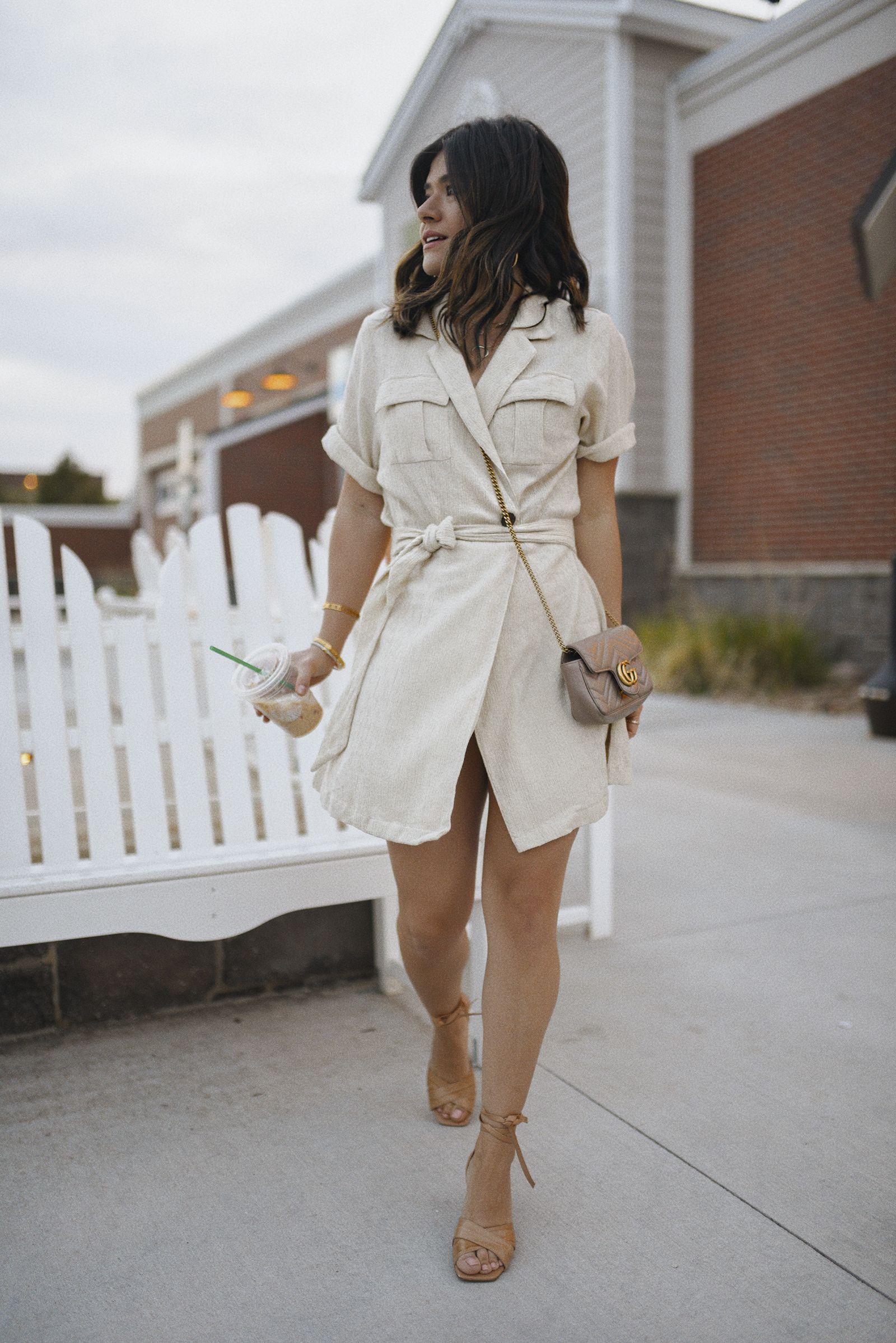 Neutral Dresses To Wear Non Stop This Summer Chic Talk In 2021 Neutral Dresses Neutral Dress Outfit Beige Shirt Dress [ 2397 x 1600 Pixel ]