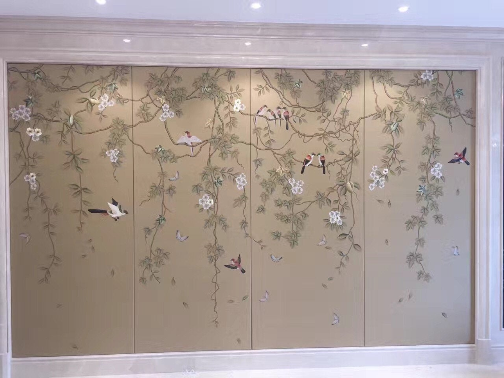 Birds and Vines Chinoiserie Handpainted Wallpaper with
